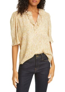 Rebecca Taylor Soleil Metallic Floral Cotton & Silk Blend Top