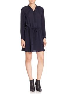 Rebecca Taylor Solid Tie-Waist Silk Dress