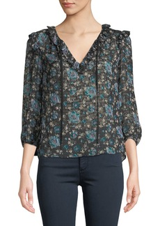 Rebecca Taylor Solstice Floral Ruffle 3/4-Sleeve Top