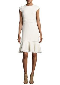 Rebecca Taylor Sparkle Cap-Sleeve Tweed Dress