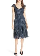 Rebecca Taylor Speckled Dot Silk Blend Fit & Flare Dress