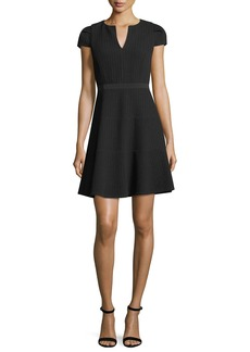Rebecca Taylor Split-Neck Cap-Sleeve Textured Day Dress