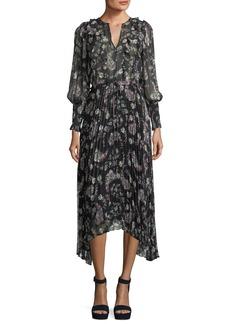 Rebecca Taylor Split-Neck Long-Sleeve Floral-Print Chiffon Dress