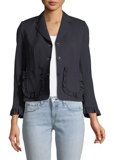 Rebecca Taylor Spring Ruffle Single-Breasted Wool Jacket
