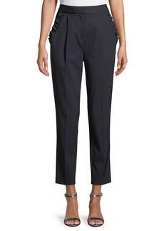 Rebecca Taylor Spring Ruffle Straight-Leg Wool Pants