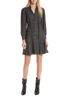 Rebecca Taylor Sprinkle Dot Tie Neck Silk Dress