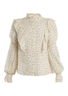Rebecca Taylor Star-print silk-blend blouse