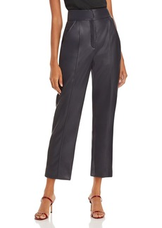 Rebecca Taylor Stovepipe Cropped Faux Leather Pants