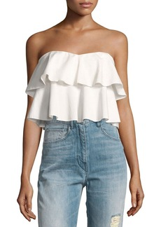 Rebecca Taylor Strapless Tiered Ruffle Crop Top