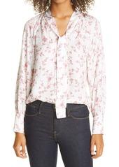 Rebecca Taylor Strawberry Print Tie Neck Silk Blend Blouse