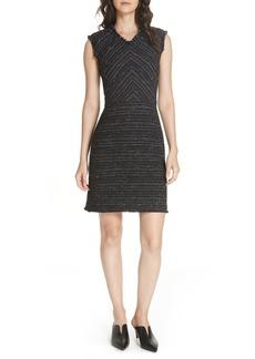 Rebecca Taylor Stretch Cotton Blend Tweed Sheath Dress