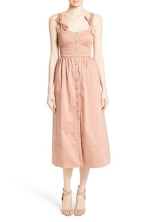 Rebecca Taylor Stretch Cotton Midi Dress