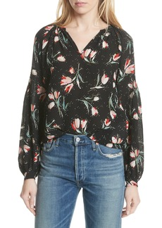 Rebecca Taylor Stretch Silk Floral Top