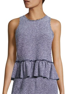 Rebecca Taylor Stretch Tweed Peplum Top