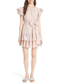 Rebecca Taylor Stripe Ruffle Cap Sleeve Dress