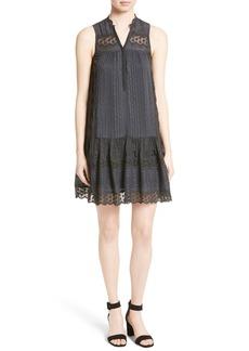 Rebecca Taylor Stripe Silk A-Line Dress