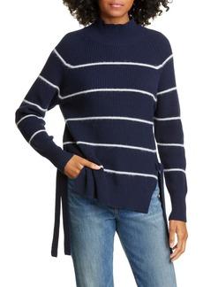 Rebecca Taylor Stripe Wool & Cotton Blend Turtleneck Sweater