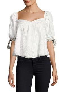 Rebecca Taylor Striped Cotton Crop Top