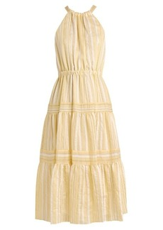 Rebecca Taylor Striped halterneck tiered-skirt woven dress
