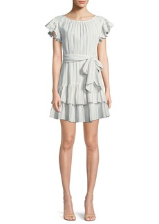 Rebecca Taylor Striped Self-Tie Ruffle Mini Dress
