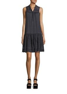 Rebecca Taylor Striped Silk And Lace Dress
