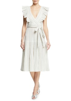 Rebecca Taylor Striped Yarn-Dye Sleeveless Midi Dress