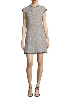 Rebecca Taylor Structured Tweed Dress w/Fringe Trim