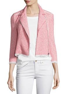 Rebecca Taylor Summer Tweed Zip-Front Jacket  Coral