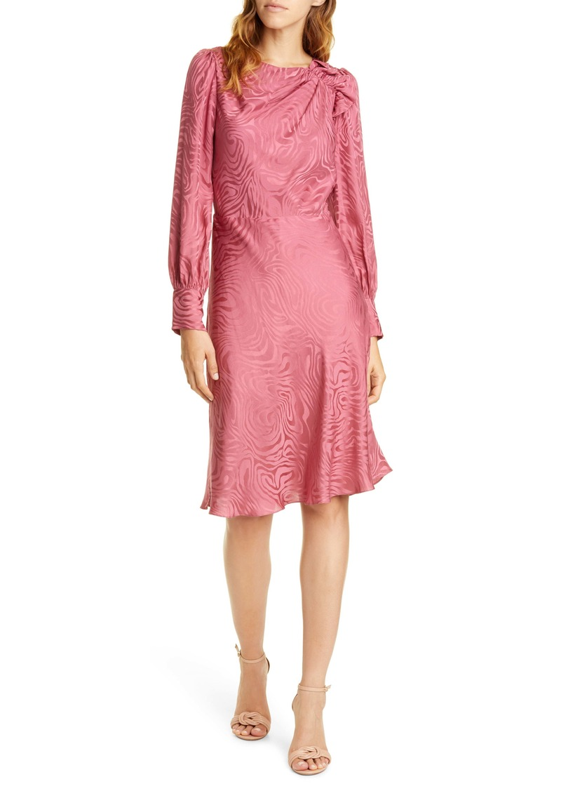 Rebecca Taylor Swirl Jacquard Long Sleeve Silk Blend Dress