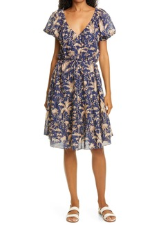 Rebecca Taylor Talita Botanical Print Metallic Dress