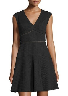 Taylor Cap-Sleeve V-Neck Dress