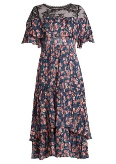 Rebecca Taylor Tea Rose lace-yoke silk and cotton-blend dress