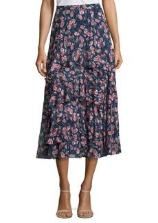 Rebecca Taylor Tea Rose Ruffled Silk Skirt