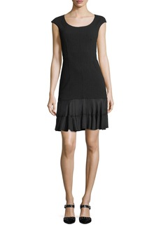 Rebecca Taylor Terri Round-Neck Sheath Dress with Flounce Hem