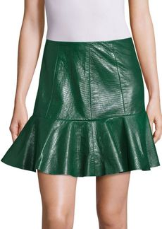 Rebecca Taylor Textured Lamb Leather Skirt