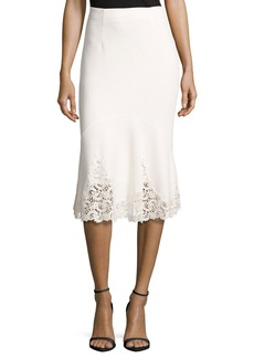 Rebecca Taylor Textured Midi Skirt with Lace Hem