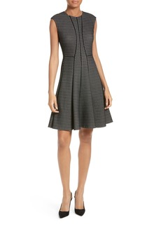 Rebecca Taylor Textured Stretch Knit Fit & Flare Dress