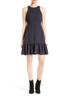 Rebecca Taylor Textured Stretch Woven Ruffle Dress