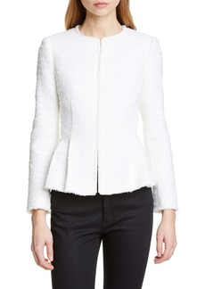 Rebecca Taylor Textured Stripe Cotton Blend Peplum Jacket