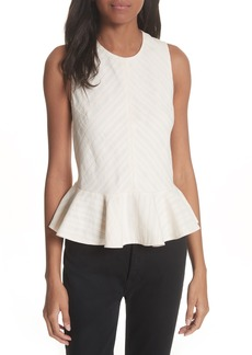 Rebecca Taylor Textured Stripe Peplum Top