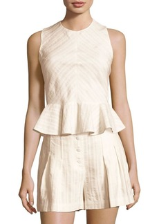 Rebecca Taylor Textured Striped Peplum Top