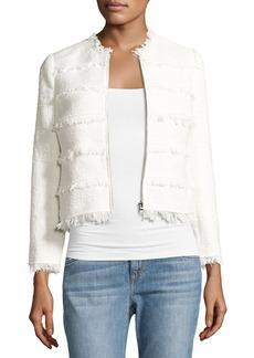 Rebecca Taylor Textured Tweed Jacket with Fringe