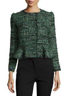 Rebecca Taylor Textured Tweed Peplum Jacket