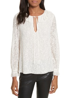 Rebecca Taylor Textured Vines Silk Top