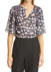 Rebecca Taylor Thistle Fleur Metallic Thread Silk Blend Blouse