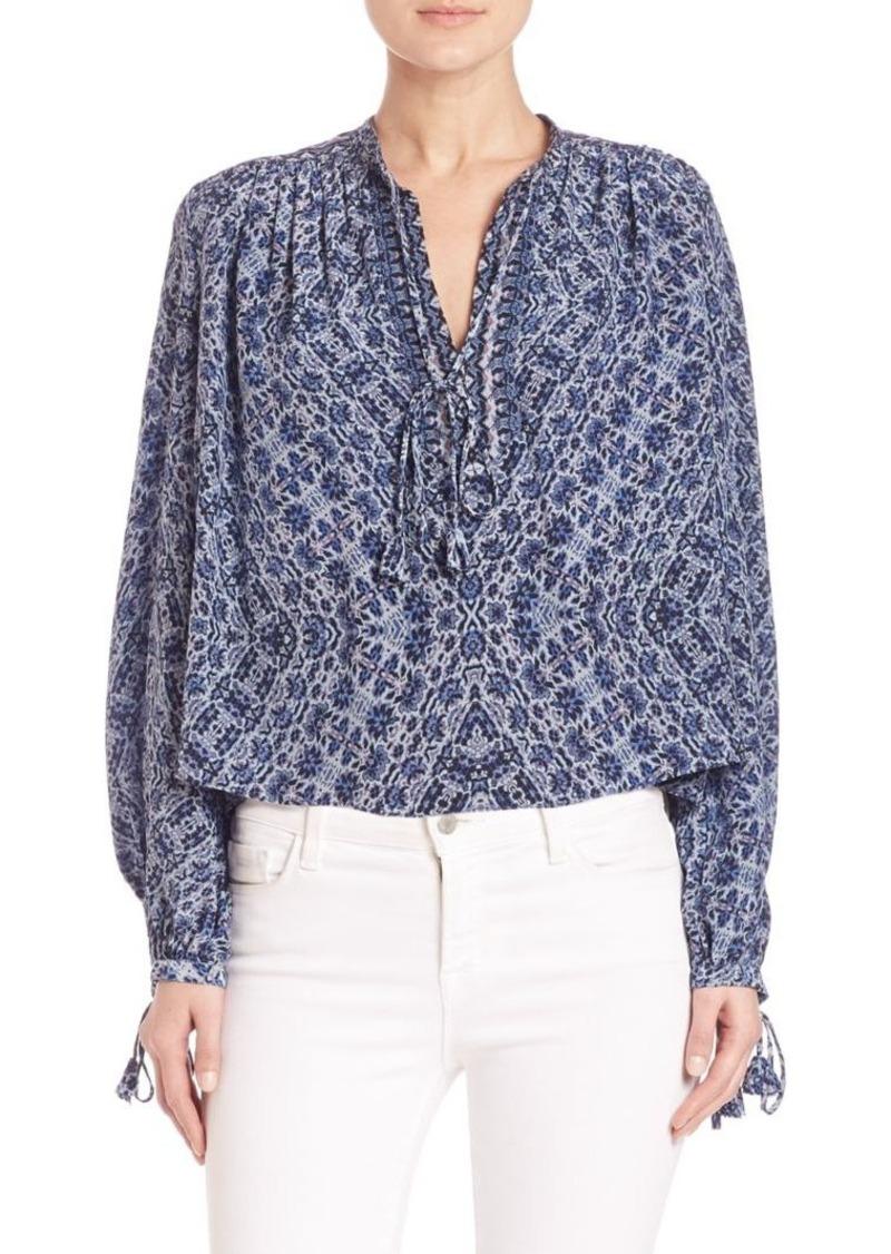 Rebecca Taylor Tie-Detail Paisley Silk Blouse