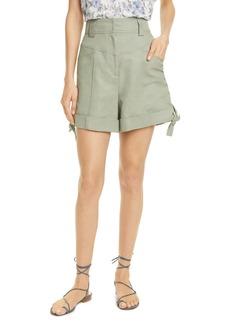Rebecca Taylor Tie Hem Twill Shorts