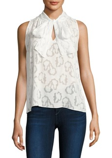 Rebecca Taylor Tie-Neck Floral Jacquard Top