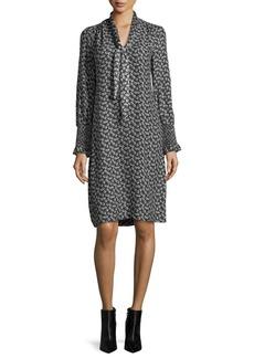 Rebecca Taylor Tie-Neck Long-Sleeve Printed Silk Dress