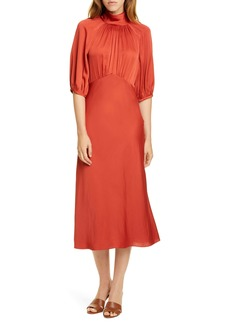 Rebecca Taylor Tie Neck Satin Dress